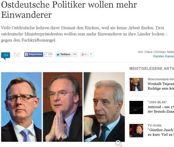 Ostdeutsche Politiker wollen mehr Einwanderer
